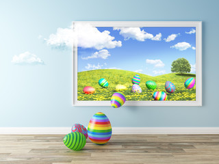 Picture Alive - Easter Eggs In Blooming Meadow 3d illustration
