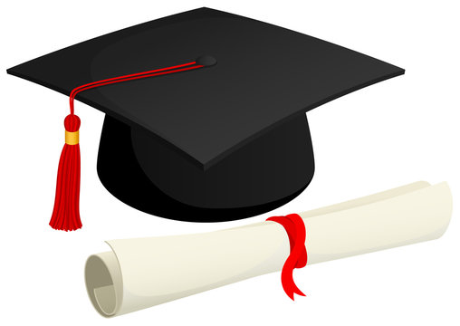 Vector illustration of a graduation cap and a rolled diploma.