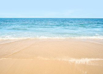 Sea view, beautiful beach with blue sky, sand sun daylight, holiday summer concept