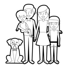 cute family dad mom little son and daughter their dog