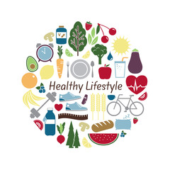 Healthy Lifestyle Concept. Vector illustration of fitness, health, nutrition and well being icons. Symbols for healthy living, exercise, fruits, vegetables and balanced diet on white background.