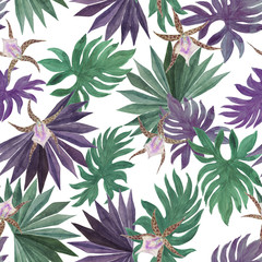 Watercolor painting seamless pattern with tropical flowers and leaves