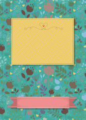 Floral greeting card with banners for custom text
