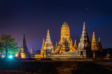 Wall Mural - Ayutthaya Historical Park, Wat Chaiwatthanaram Buddhist temple in Thailand.