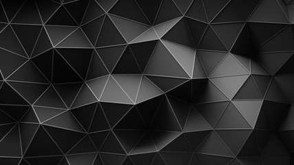 Black construction with lines and low poly shape 3D rendering