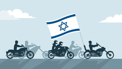 Bikers on motorcycles with israel flag
