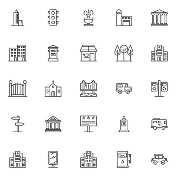 City buildings outline icons set. linear style symbols collection, line signs pack. vector graphics. Set includes icons as Skyscraper, Traffic light, Fountain, Fire station, Court house, Hospital