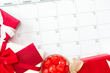 Valentine's day or wedding gifts on calendar