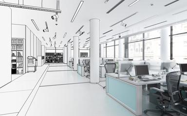 Bürofläche mit Einrichtung (Planung)