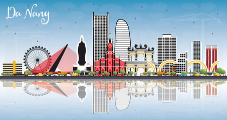 Da Nang Vietnam City Skyline with Color Buildings, Blue Sky and Reflections.