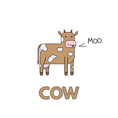 Cartoon Cow Flashcard for Children