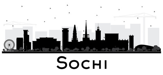 Sochi Russia City Skyline Silhouette with Black Buildings Isolated on White.