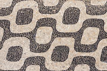 Ipanema Beach famous mosaic pattern, Rio de Janeiro, Brazil