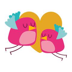 cute flying birds heart in love romance