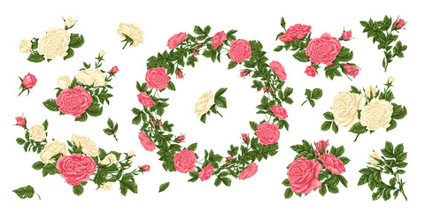 Big set of pink and white roses, and a wreath of flowers.