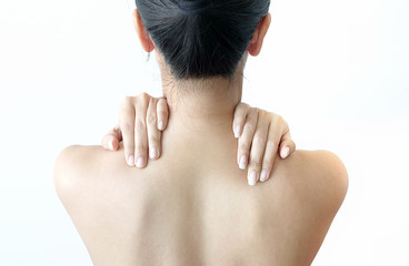 Woman Neck pain, shoulder pain, health concept, white background.Health and Care Concepts