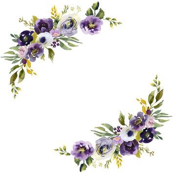 Wedding frame wreath green and purple flowers ornament