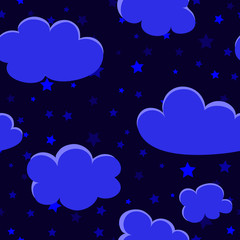 night background with stars and clouds. sky background. vector seamless pattern