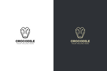Stylized geometric Crocodile head illustration. Vector icon tribal design.