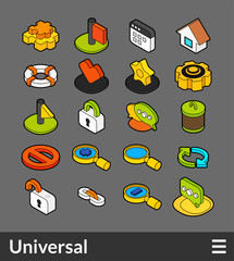 Isometric outline color icons set