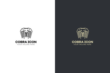 Stylized geometric serpent head illustration. Vector icon tribal cobra design.