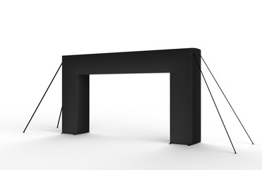 Black Blank Inflatable square Arch Tube or Event Entrance Gate. 3d render illustration.
