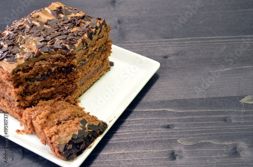 Truffle Chocolate Cake In Quad Plate Stock Photo And Royalty Free