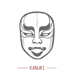 Kabuki Mask. Japanese Theatrical Symbol in Hand Drawn Style for Surface Design Fliers Prints Cards Banners. Vector Illustration