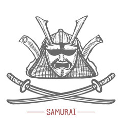 Samurai Mask and Swords. Japanese Mask in Hand Drawn Style for Surface Design Fliers Prints Cards Banners. Vector Illustration