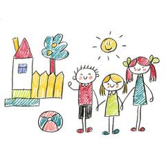 Small children play and study. Kids drawing style illustration. Kindergarten, school, nursery children. Happy summer vacation
