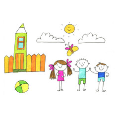 Small children play and study. Kids drawing style illustration. Kindergarten, school, nursery children. H
