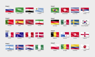 Soccer Flags with wave effect.