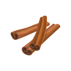 Illustration of three brown cinnamon sticks. Aromatic condiment for dishes. Culinary theme. Design for promo poster, cafe menu or product packaging. Detailed vector icon