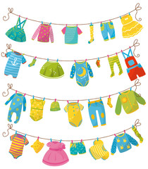 Flat vector set of kids clothes on rope. Apparel for newborn boy or girl. Bodysuit, skirt, t-shirt, sweater, pants, baby romper, cap, sock, dress. Children s garment