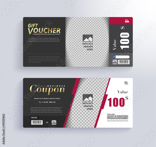 GIFT VOUCHER Template. Blank space for images.\