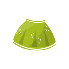 Little green skirt for toddler girl. Children s clothing. Stylish kids garment. Element for infographic about preparing for motherhood. Colorful flat vector design