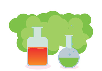 bottle and flask contain acids and evaporated to both