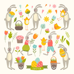 Vintage elements set of easter theme.