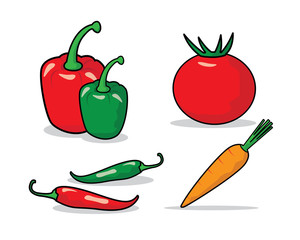 fresh vegetable cartoon illustration , cartoon design style , designed for illustration