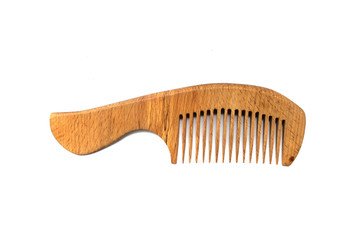 wooden comb for hair isolated on white background