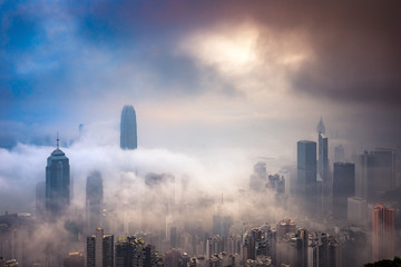 Wall Mural - Misty and Cloudy view at Hong Kong