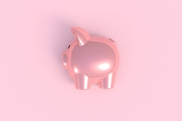 Top view of pink piggy bank abstract on minimal pink table background, Copyspace for your text, Mock up template for application design, 3D rendering