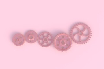 Gear abstract minimal pink background, 3d rendering