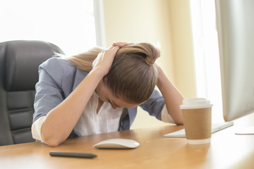 Woman working stress situation at office. People working concept.