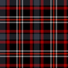 Seamless plaid pattern in black, red and white stripes.