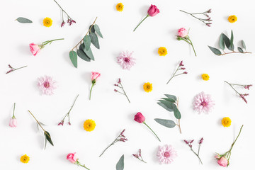 Flowers composition. Pattern made of various colorful flowers on white background. Flat lay, top...