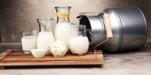 milk products. tasty healthy dairy products on a table on