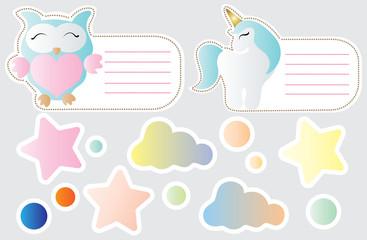 cartoon cute toy owl, unicorn, cloud and star