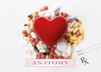 ANATOMY written on heart and medication background