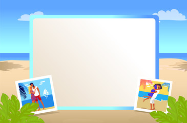 Square Photo Frame with Beautiful Sandy Beach